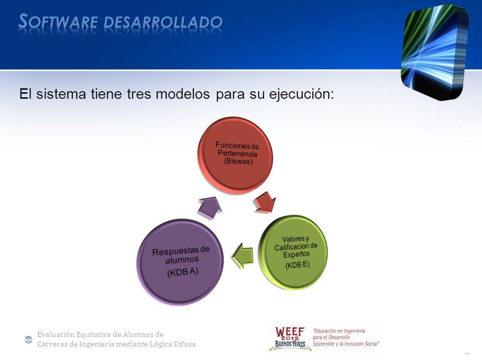 El sistema tiene tres modelos para su ejecución: Evaluación Equitativa de Alumnos de Carreras de Ingeniería mediante Lógica Difusa
