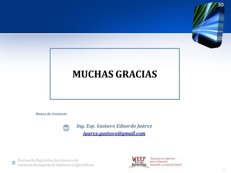 MUCHAS GRACIAS Datos de Contacto Ing. Esp. Gustavo Eduardo Juárez juarez.gustavo@gmail.com 30 Evaluación Equitativa de Alumnos de Carreras de Ingenier