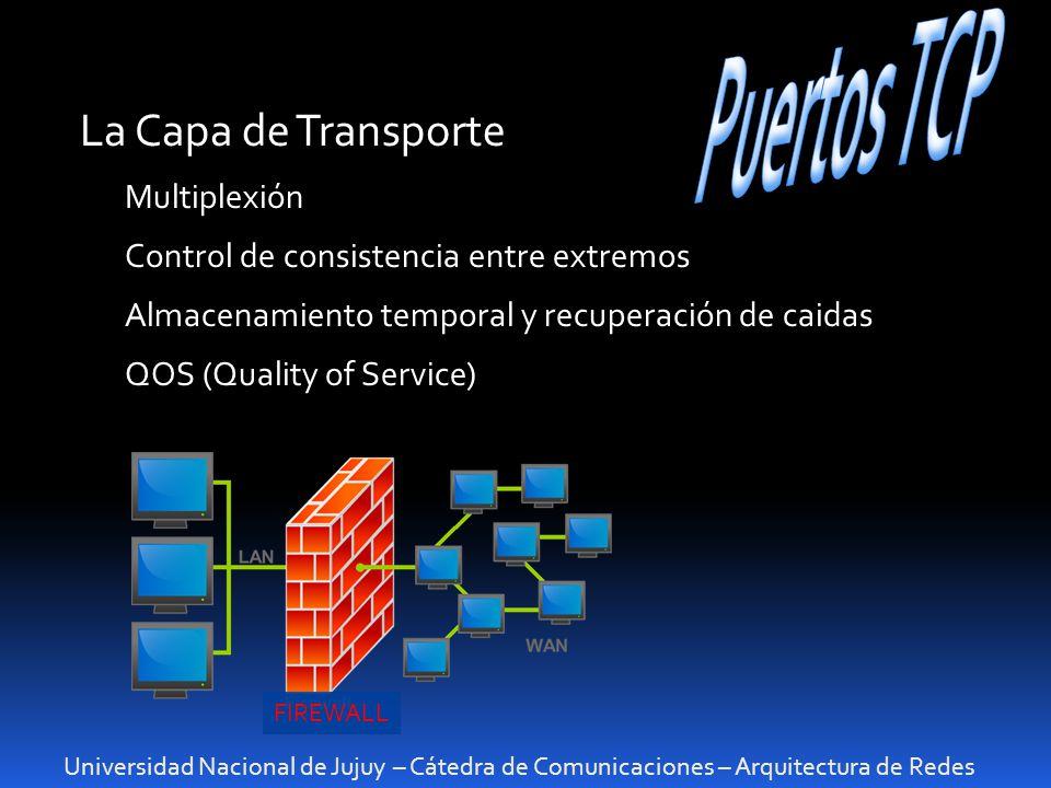Universidad Nacional de Jujuy – Cátedra de Comunicaciones – Arquitectura de Redes La Capa de Transporte Multiplexión Control de consistencia entre ext