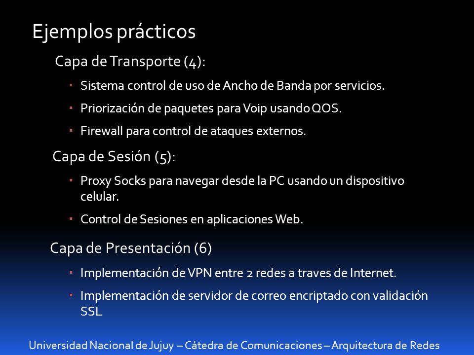Universidad Nacional de Jujuy – Cátedra de Comunicaciones – Arquitectura de Redes Ejemplos prácticos Capa de Transporte (4): Sistema control de uso de
