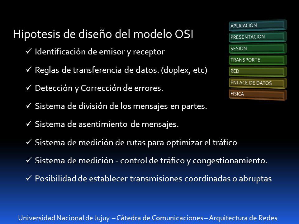 Universidad Nacional de Jujuy – Cátedra de Comunicaciones – Arquitectura de Redes Hipotesis de diseño del modelo OSI Identificación de emisor y recept