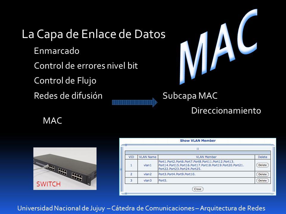 Universidad Nacional de Jujuy – Cátedra de Comunicaciones – Arquitectura de Redes La Capa de Enlace de Datos Enmarcado Control de errores nivel bit Co