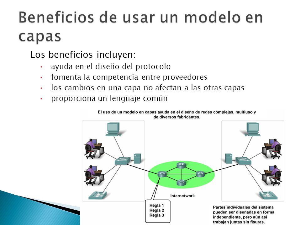 Muchos tipos diversos de dispositivos pueden comunicarse usando el mismo conjunto de protocolos.