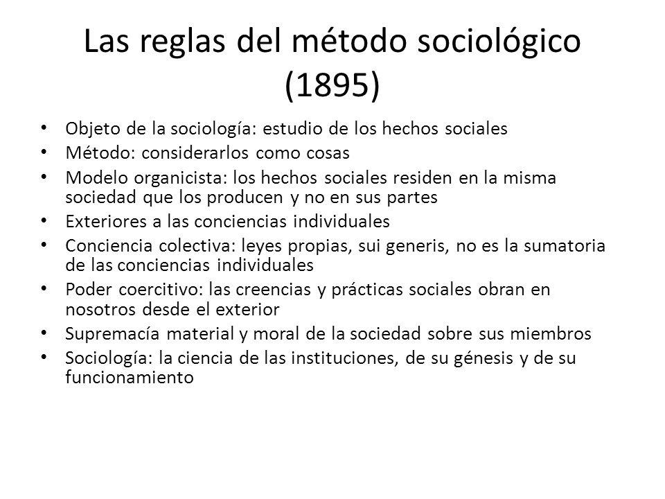 Las reglas del método sociológico (1895) Objeto de la sociología: estudio de los hechos sociales Método: considerarlos como cosas Modelo organicista: