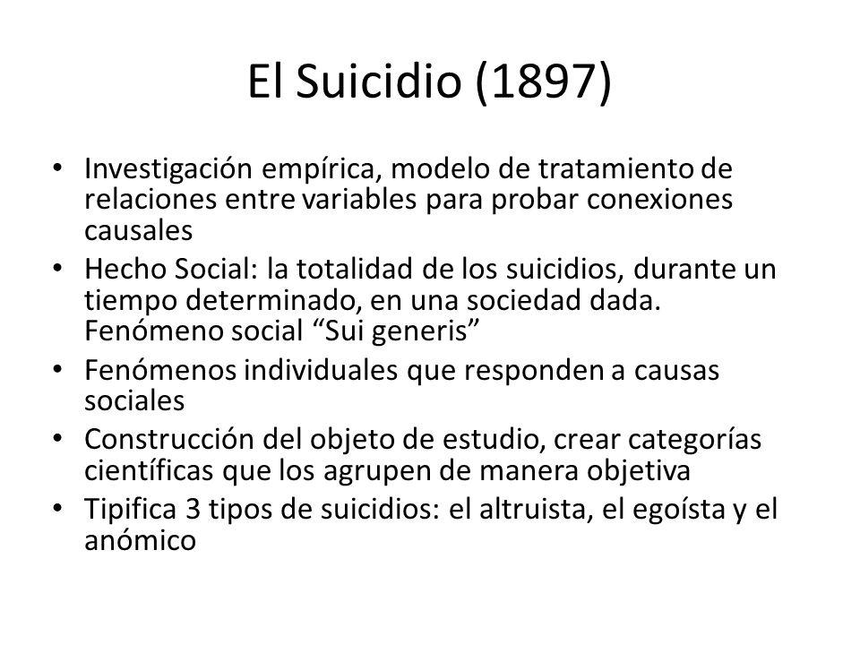 El Suicidio (1897) Investigación empírica, modelo de tratamiento de relaciones entre variables para probar conexiones causales Hecho Social: la totali