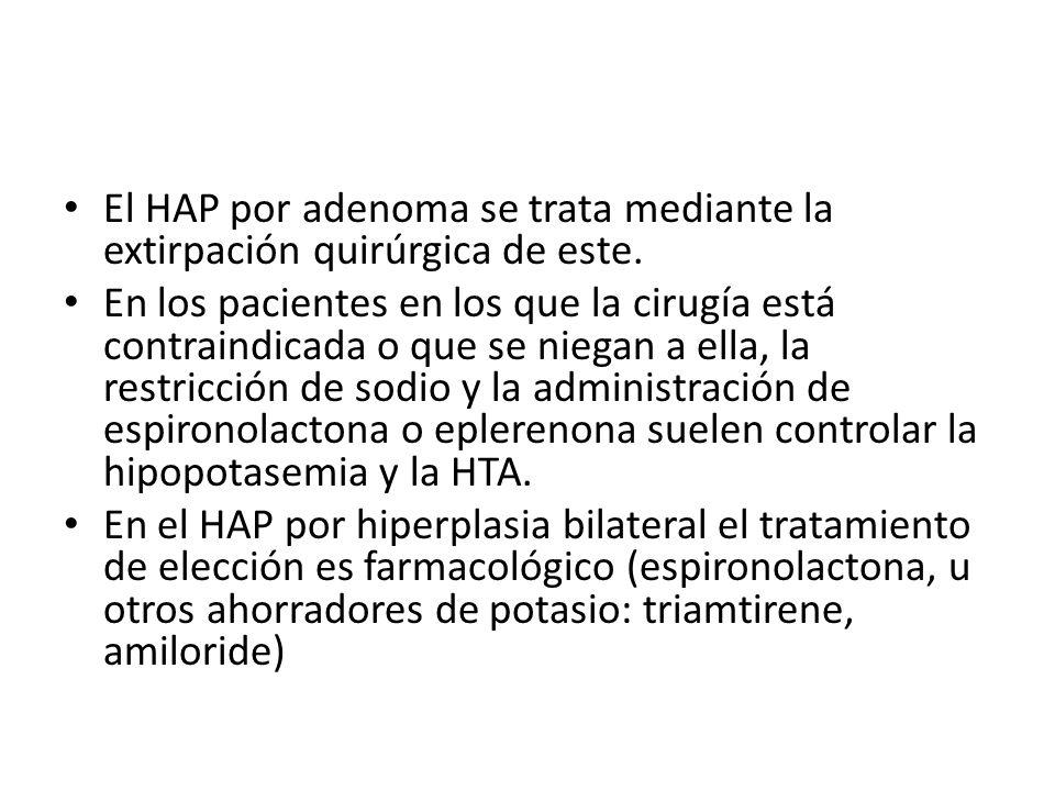 El HAP por adenoma se trata mediante la extirpación quirúrgica de este. En los pacientes en los que la cirugía está contraindicada o que se niegan a e