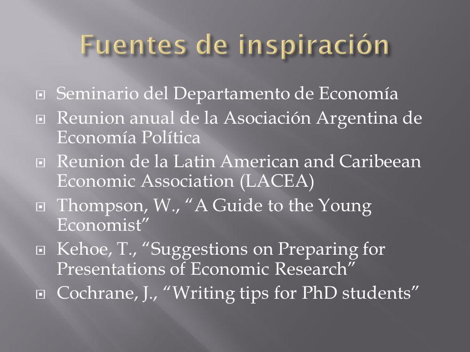 Seminario del Departamento de Economía Reunion anual de la Asociación Argentina de Economía Política Reunion de la Latin American and Caribeean Econom