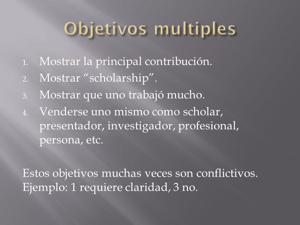 1. Mostrar la principal contribución. 2. Mostrar scholarship. 3. Mostrar que uno trabajó mucho. 4. Venderse uno mismo como scholar, presentador, inves