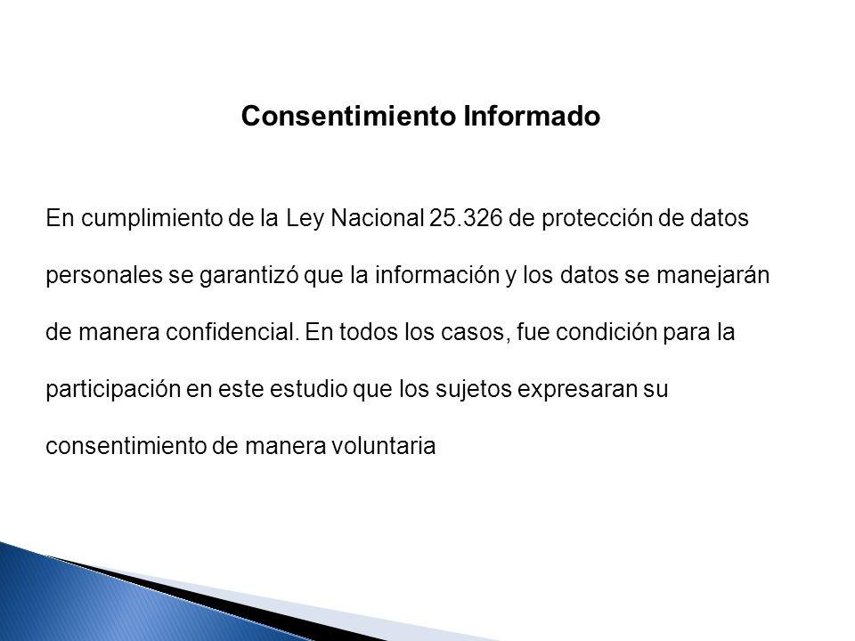 Consentimiento Informado En cumplimiento de la Ley Nacional 25.326 de protección de datos personales se garantizó que la información y los datos se ma