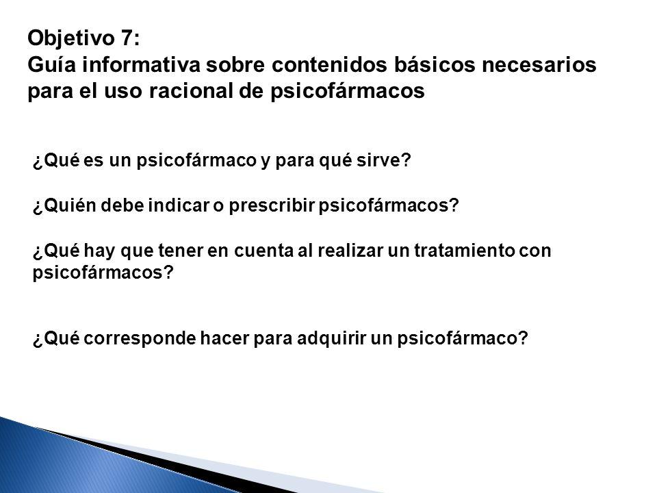 Objetivo 7: Guía informativa sobre contenidos básicos necesarios para el uso racional de psicofármacos ¿Qué es un psicofármaco y para qué sirve? ¿Quié