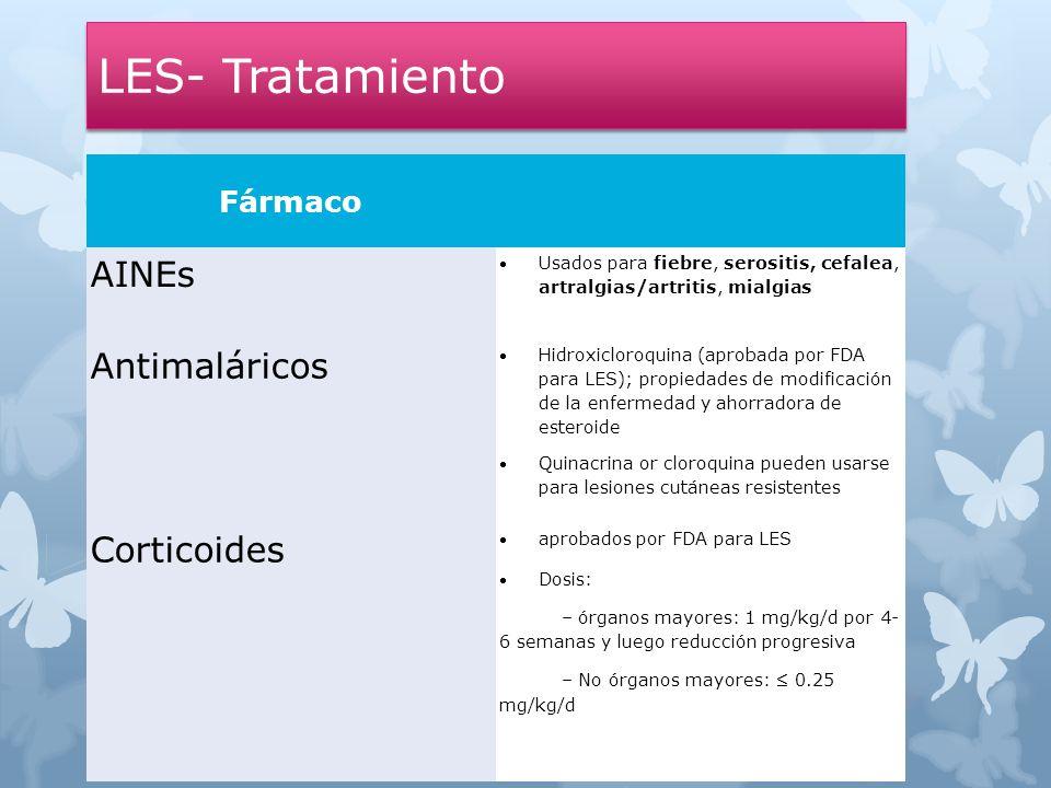 LES- Tratamiento Fármaco AINEs Usados para fiebre, serositis, cefalea, artralgias/artritis, mialgias Antimaláricos Hidroxicloroquina (aprobada por FDA