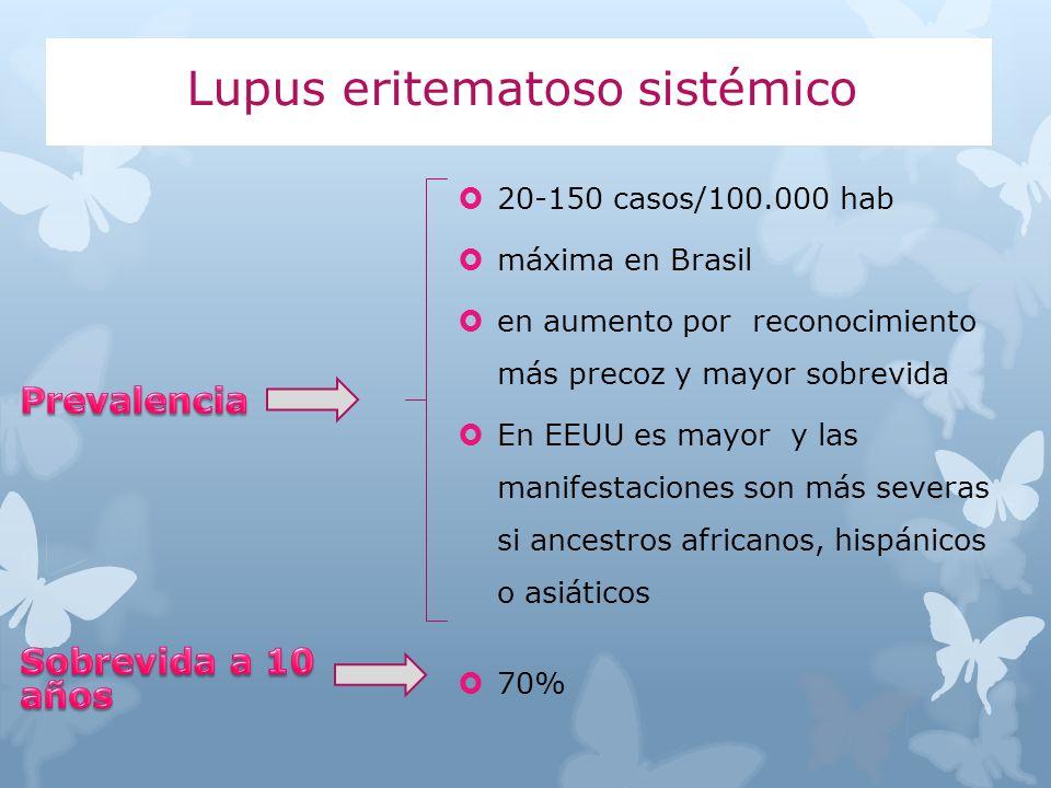 20-150 casos/100.000 hab máxima en Brasil en aumento por reconocimiento más precoz y mayor sobrevida En EEUU es mayor y las manifestaciones son más se