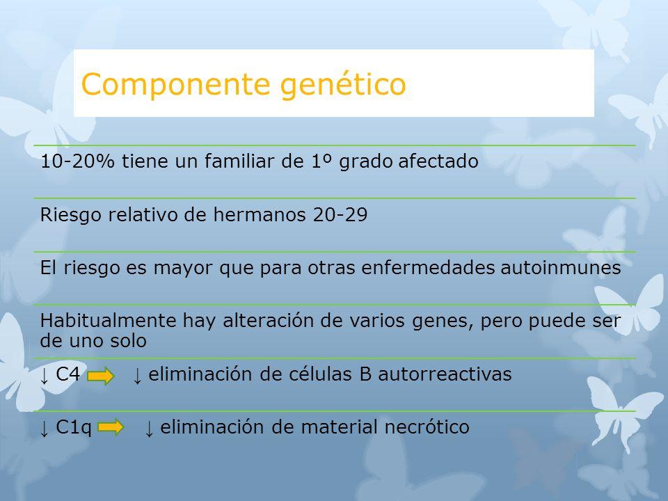 Componente genético 10-20% tiene un familiar de 1º grado afectado Riesgo relativo de hermanos 20-29 El riesgo es mayor que para otras enfermedades aut