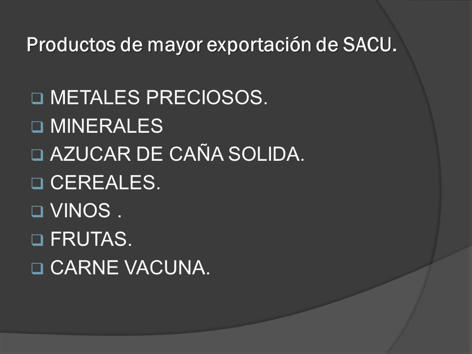 Productos de mayor exportación de SACU. METALES PRECIOSOS. MINERALES AZUCAR DE CAÑA SOLIDA. CEREALES. VINOS. FRUTAS. CARNE VACUNA.