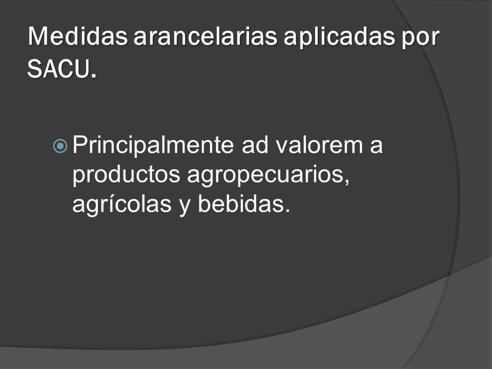 Medidas arancelarias aplicadas por SACU. Principalmente ad valorem a productos agropecuarios, agrícolas y bebidas.