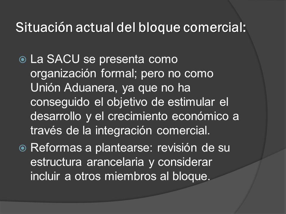 Situación actual del bloque comercial: La SACU se presenta como organización formal; pero no como Unión Aduanera, ya que no ha conseguido el objetivo