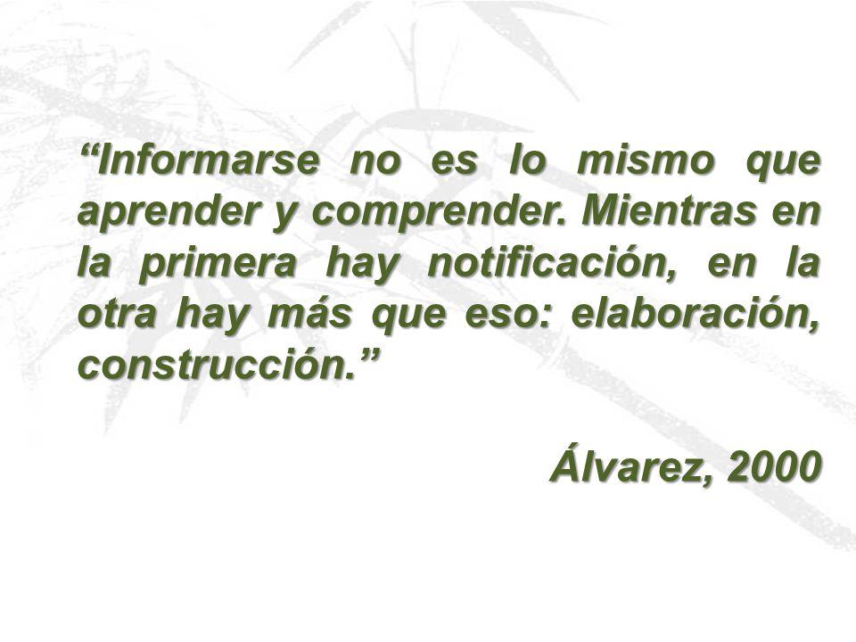 Informarse no es lo mismo que aprender y comprender. Mientras en la primera hay notificación, en la otra hay más que eso: elaboración, construcción. Á