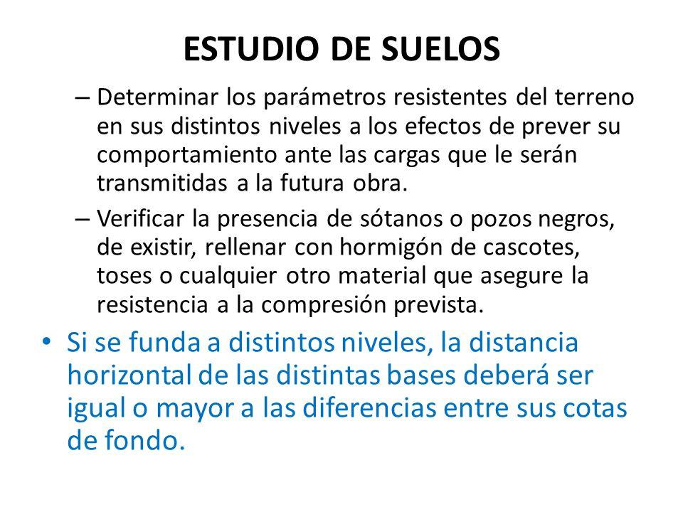 ESTUDIO DE SUELOS – Determinar los parámetros resistentes del terreno en sus distintos niveles a los efectos de prever su comportamiento ante las carg