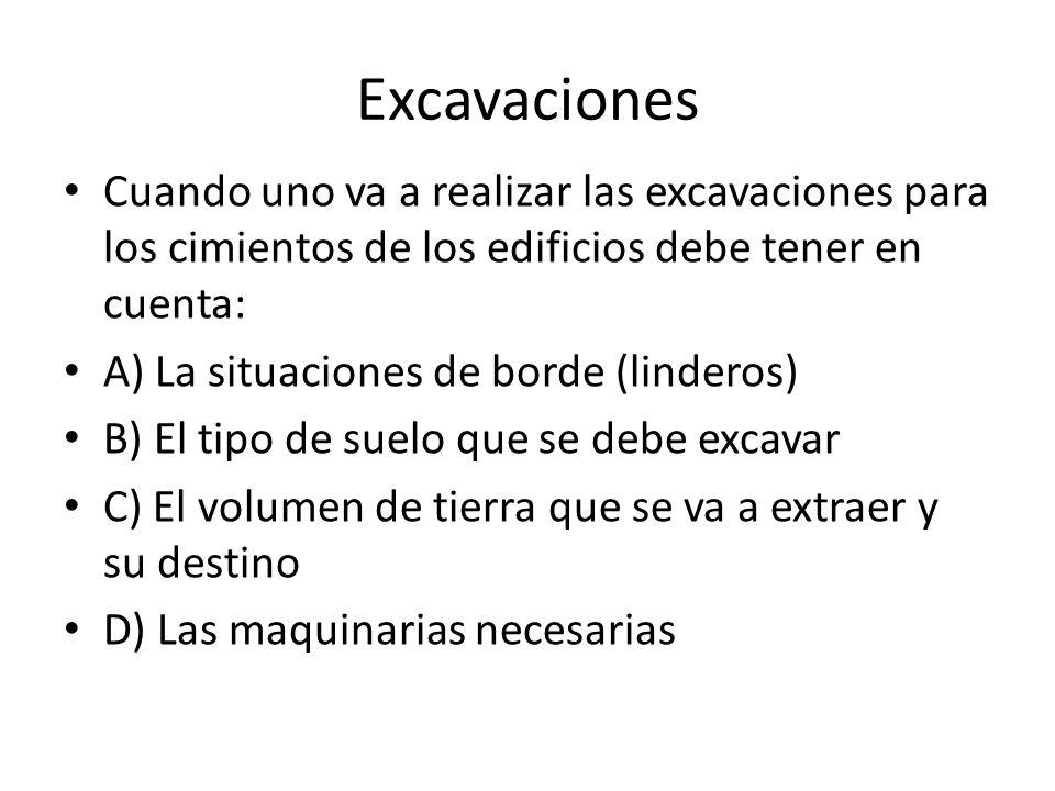 Excavaciones Cuando uno va a realizar las excavaciones para los cimientos de los edificios debe tener en cuenta: A) La situaciones de borde (linderos)