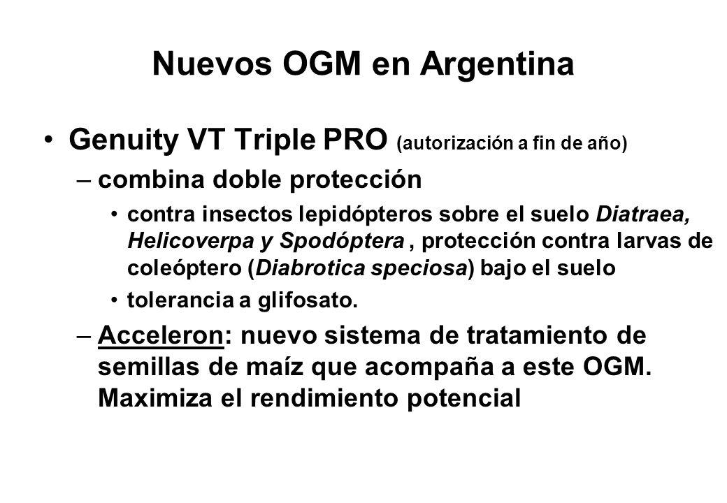 Nuevos OGM en Argentina Genuity VT Triple PRO (autorización a fin de año) –combina doble protección contra insectos lepidópteros sobre el suelo Diatra