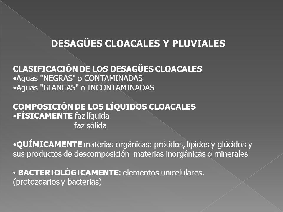 DESAGÜES CLOACALES Y PLUVIALES CLASIFICACIÓN DE LOS DESAGÜES CLOACALES Aguas