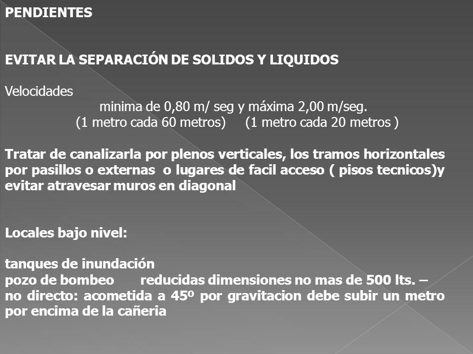 PENDIENTES EVITAR LA SEPARACIÓN DE SOLIDOS Y LIQUIDOS Velocidades minima de 0,80 m/ seg y máxima 2,00 m/seg. (1 metro cada 60 metros) (1 metro cada 20