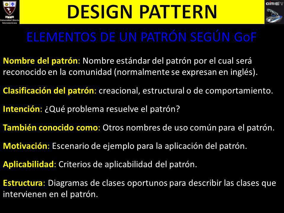 ELEMENTOS DE UN PATRÓN SEGÚN GoF Nombre del patrón: Nombre estándar del patrón por el cual será reconocido en la comunidad (normalmente se expresan en