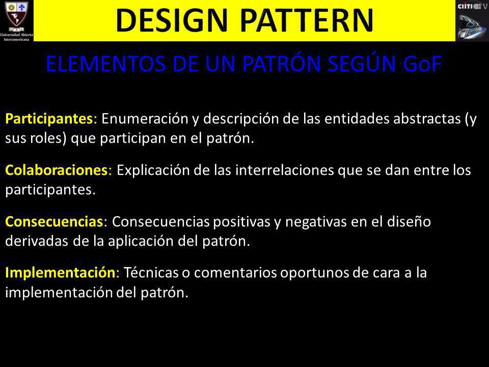 ELEMENTOS DE UN PATRÓN SEGÚN GoF Participantes: Enumeración y descripción de las entidades abstractas (y sus roles) que participan en el patrón. Colab