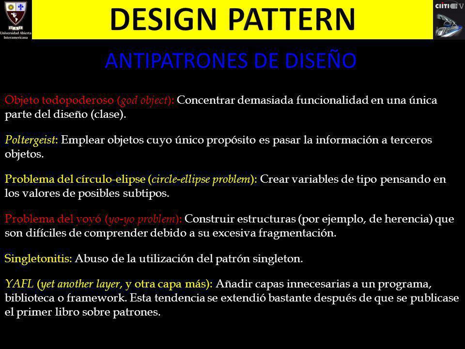 ANTIPATRONES DE DISEÑO Objeto todopoderoso ( god object ): Concentrar demasiada funcionalidad en una única parte del diseño (clase). Poltergeist : Emp