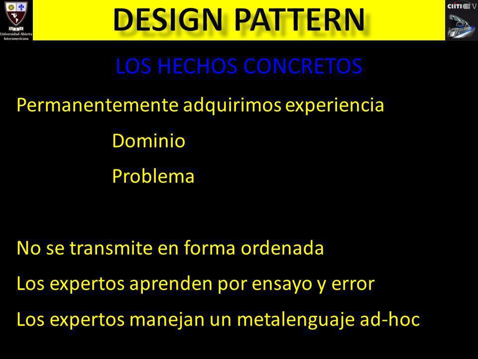 LOS HECHOS CONCRETOS Permanentemente adquirimos experiencia Dominio Problema No se transmite en forma ordenada Los expertos aprenden por ensayo y erro