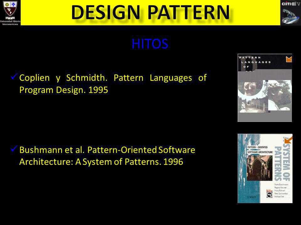 Coplien y Schmidth. Pattern Languages of Program Design. 1995 Bushmann et al. Pattern-Oriented Software Architecture: A System of Patterns. 1996 HITOS
