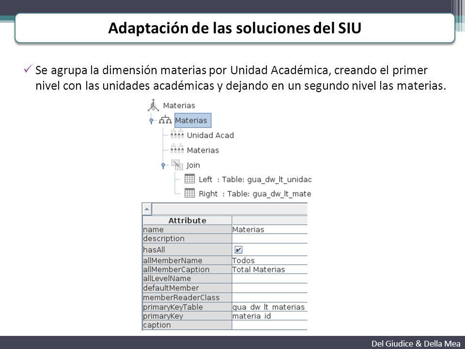Se agrupa la dimensión materias por Unidad Académica, creando el primer nivel con las unidades académicas y dejando en un segundo nivel las materias.