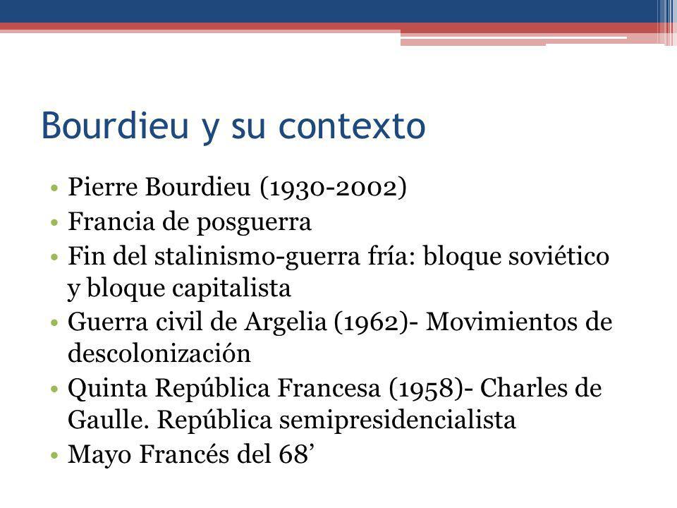 Bourdieu y su contexto Pierre Bourdieu (1930-2002) Francia de posguerra Fin del stalinismo-guerra fría: bloque soviético y bloque capitalista Guerra civil de Argelia (1962)- Movimientos de descolonización Quinta República Francesa (1958)- Charles de Gaulle.