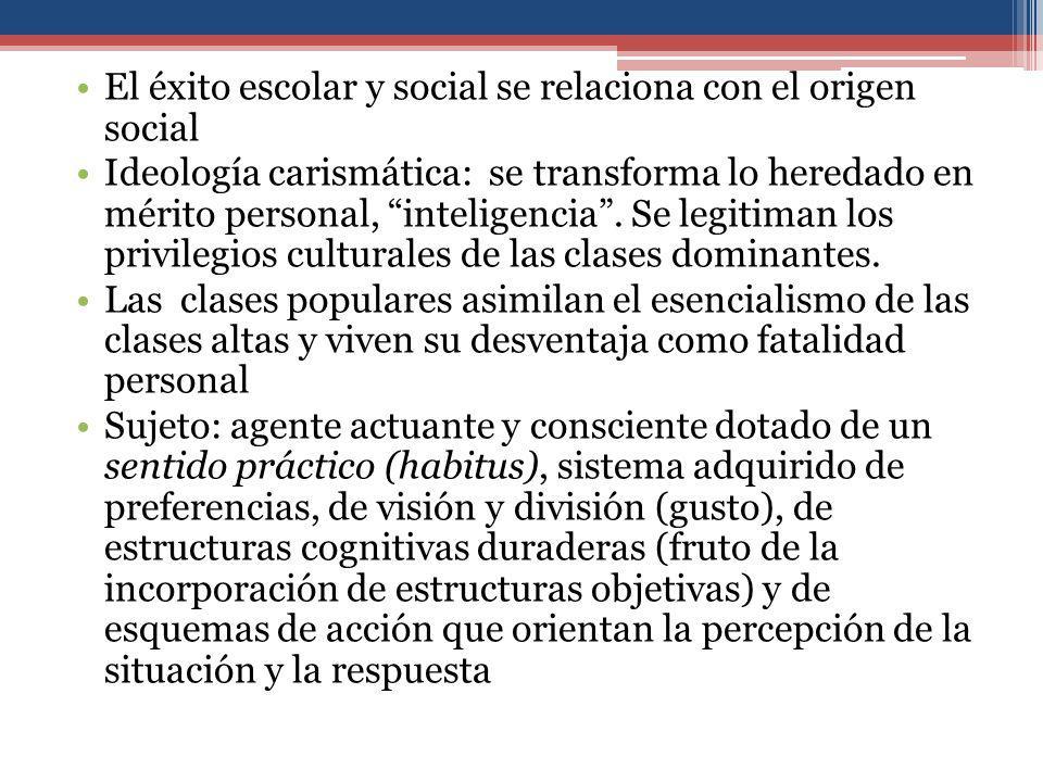 El éxito escolar y social se relaciona con el origen social Ideología carismática: se transforma lo heredado en mérito personal, inteligencia.