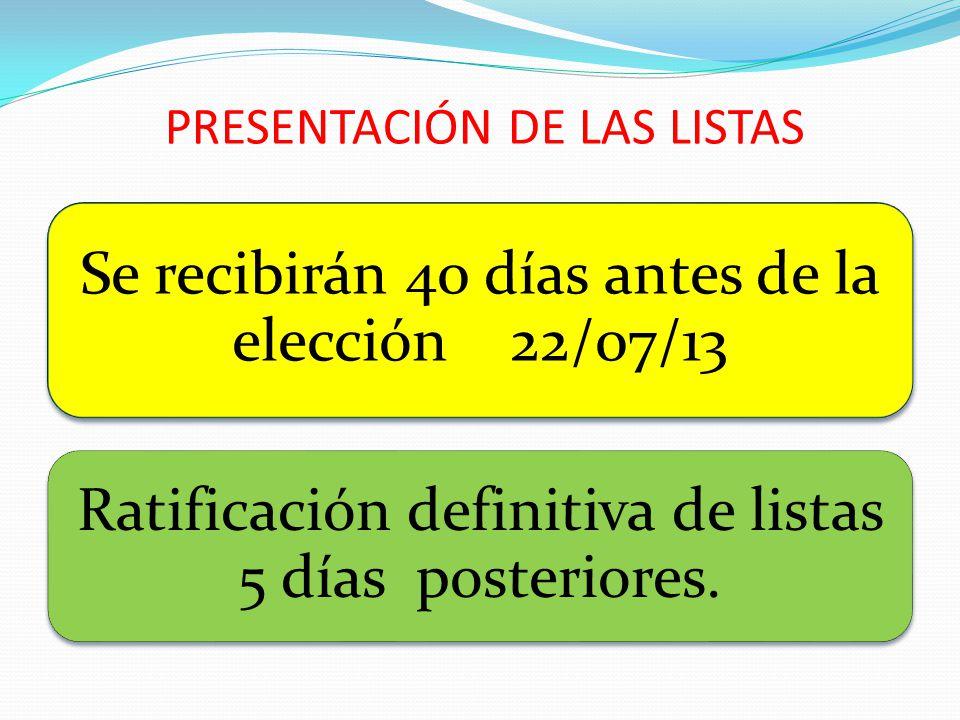 PRESENTACIÓN DE LAS LISTAS Se recibirán 40 días antes de la elección 22/07/13 Ratificación definitiva de listas 5 días posteriores.