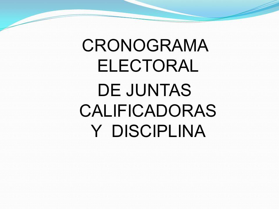 CRONOGRAMA ELECTORAL DE JUNTAS CALIFICADORAS Y DISCIPLINA