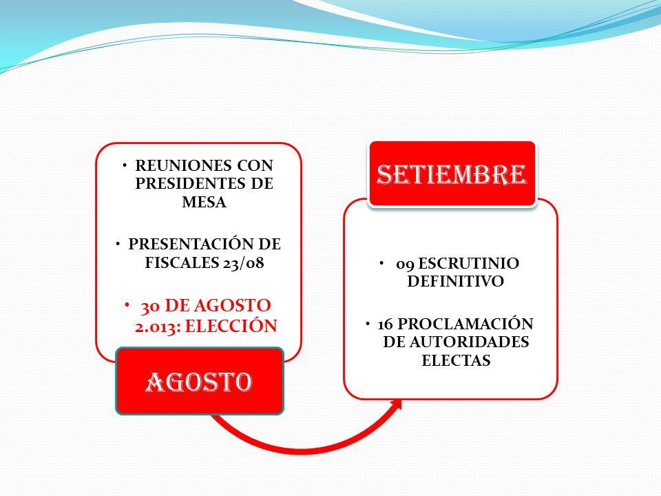 REUNIONES CON PRESIDENTES DE MESA PRESENTACIÓN DE FISCALES 23/08 30 DE AGOSTO 2.013: ELECCIÓN AGOSTO 09 ESCRUTINIO DEFINITIVO 16 PROCLAMACIÓN DE AUTORIDADES ELECTAS SETIEMBRE