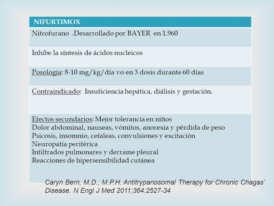 NIFURTIMOX Nitrofurano.Desarrollado por BAYER en 1.960 Inhibe la síntesis de ácidos nucleicos Posología: 8-10 mg/kg/día vo en 3 dosis durante 60 días Contraindicado: Insuficiencia hepática, diálisis y gestación.