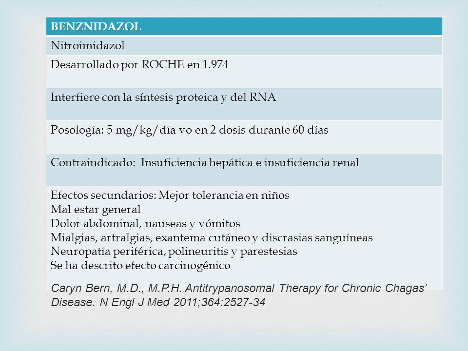 BENZNIDAZOL Nitroimidazol Desarrollado por ROCHE en 1.974 Interfiere con la síntesis proteica y del RNA Posología: 5 mg/kg/día vo en 2 dosis durante 60 días Contraindicado: Insuficiencia hepática e insuficiencia renal Efectos secundarios: Mejor tolerancia en niños Mal estar general Dolor abdominal, nauseas y vómitos Mialgias, artralgias, exantema cutáneo y discrasias sanguíneas Neuropatía periférica, polineuritis y parestesias Se ha descrito efecto carcinogénico Caryn Bern, M.D., M.P.H.