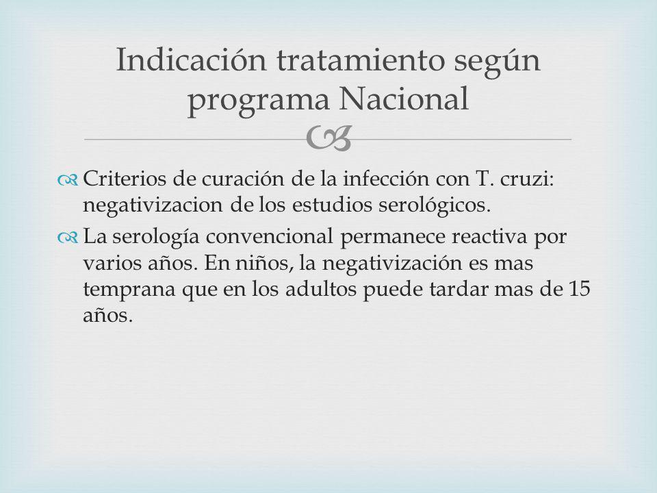 Criterios de curación de la infección con T.cruzi: negativizacion de los estudios serológicos.