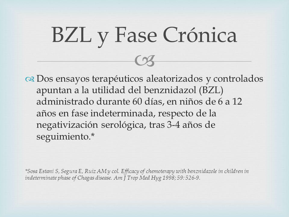 Dos ensayos terapéuticos aleatorizados y controlados apuntan a la utilidad del benznidazol (BZL) administrado durante 60 días, en niños de 6 a 12 años en fase indeterminada, respecto de la negativización serológica, tras 3-4 años de seguimiento.* *Sosa Estani S, Segura E, Ruiz AM y col.