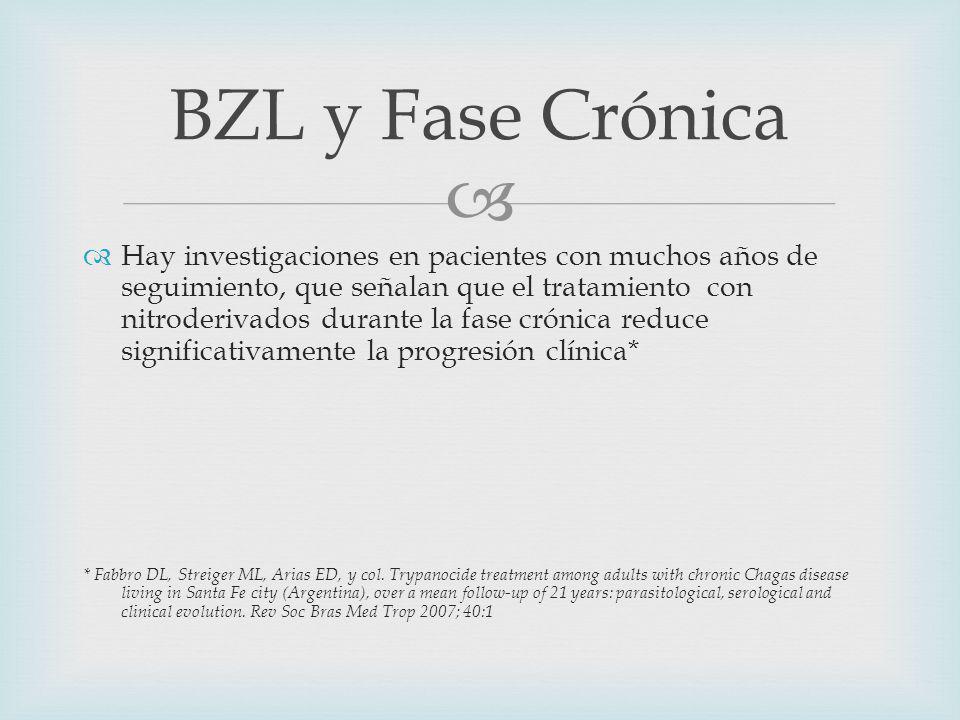 Hay investigaciones en pacientes con muchos años de seguimiento, que señalan que el tratamiento con nitroderivados durante la fase crónica reduce significativamente la progresión clínica* * Fabbro DL, Streiger ML, Arias ED, y col.