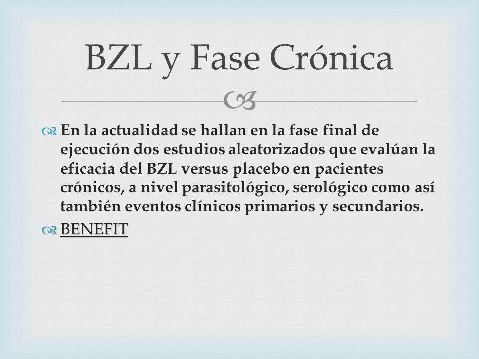 En la actualidad se hallan en la fase final de ejecución dos estudios aleatorizados que evalúan la eficacia del BZL versus placebo en pacientes crónicos, a nivel parasitológico, serológico como así también eventos clínicos primarios y secundarios.