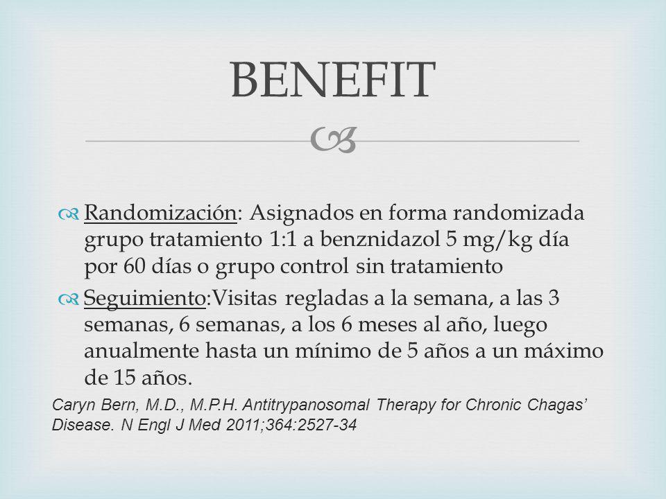 Randomización: Asignados en forma randomizada grupo tratamiento 1:1 a benznidazol 5 mg/kg día por 60 días o grupo control sin tratamiento Seguimiento:Visitas regladas a la semana, a las 3 semanas, 6 semanas, a los 6 meses al año, luego anualmente hasta un mínimo de 5 años a un máximo de 15 años.