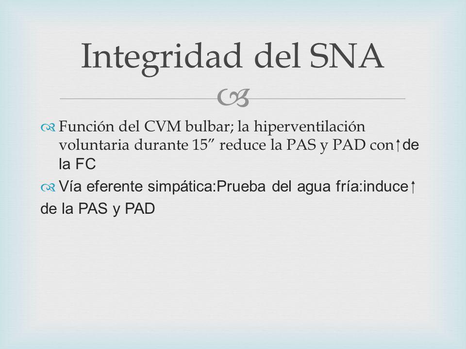 Integridad del SNA Función del CVM bulbar; la hiperventilación voluntaria durante 15 reduce la PAS y PAD con de la FC Vía eferente simpática:Prueba del agua fría:induce de la PAS y PAD