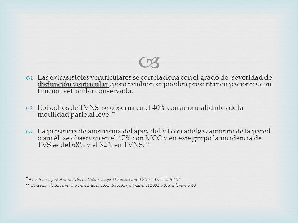 disfunción ventricular Las extrasístoles ventriculares se correlaciona con el grado de severidad de disfunción ventricular, pero tambien se pueden presentar en pacientes con funcion vetricular conservada.