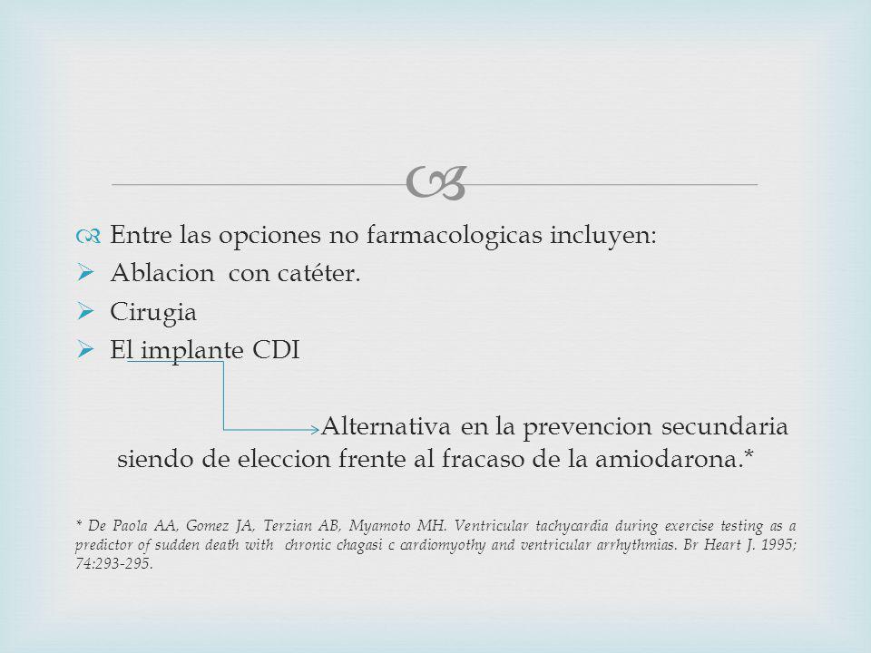 Entre las opciones no farmacologicas incluyen: Ablacion con catéter.