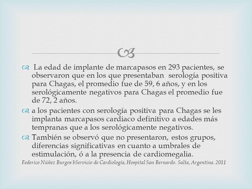 La edad de implante de marcapasos en 293 pacientes, se observaron que en los que presentaban serología positiva para Chagas, el promedio fue de 59, 6 años, y en los serológicamente negativos para Chagas el promedio fue de 72, 2 años.