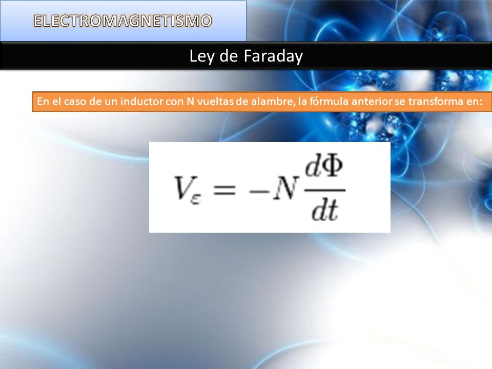 En el caso de un inductor con N vueltas de alambre, la fórmula anterior se transforma en: