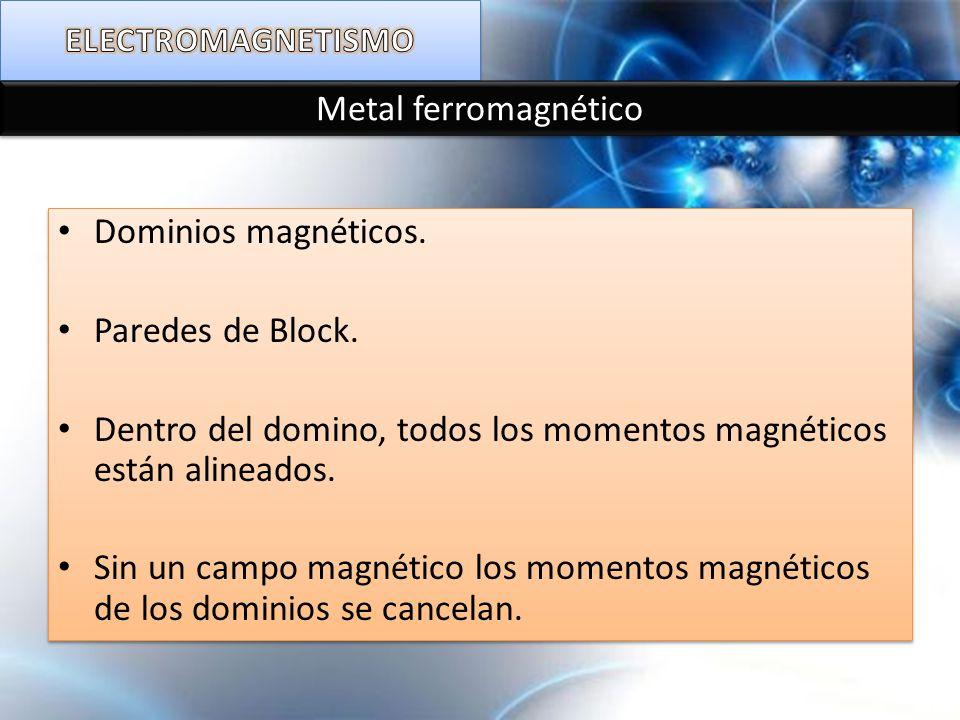 Metal ferromagnético Dominios magnéticos. Paredes de Block. Dentro del domino, todos los momentos magnéticos están alineados. Sin un campo magnético l